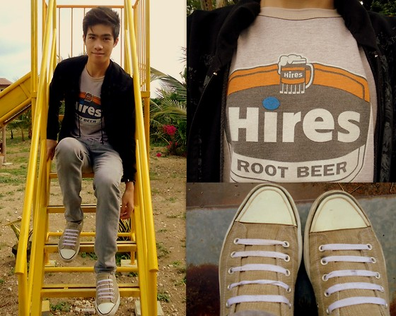 Michael John Alvarez - Vintage Tees Brown Shirt, Wade Sneakers, Old Black Jacket - *ROOT BEER :D