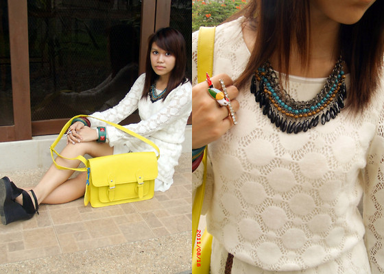 Mia Durano - Thriftgasm Sweater Dress, Coco Gold Satchel, Random Accesories, Janilyn Bandage Wedges - Change You.