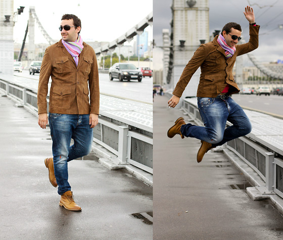 Igor_brighttoflight Kyky - Hackett London Jacket, Hugo Boss Boots, Zara Scarf, Dsquared2 Jeans, Dolce & Gabbana Sunglasses - My casual autumn look in Design Act