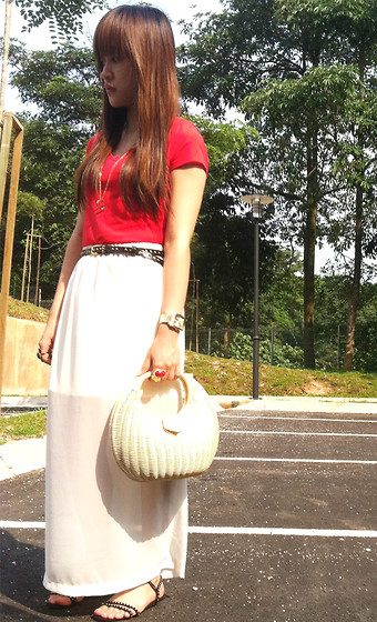 Ashley Liew - Straw Bag, Gold Studded Sandals, H&M Red Tee, Gold Studded Belt, White Sheer Maxi, Asos Gold Square Face Boyfriend Watch, Yves Saint Laurent Ysl Inspired Arty Oval Ring - Sheerlock Holmes