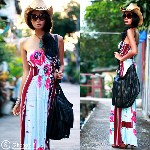 Chanok S - Market Stall Maxi Dress, Amarin Plaza Necklace, 2nd Hands Shop On The Street. Vintage Sunglasses., Market Stall Beach Hats., Franco Milano Shoulder Bag, Amarin Plaza Bangle - If I was a flower.