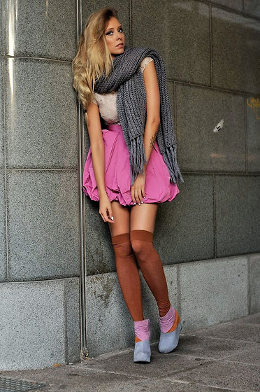 Martina M. - H&M Over Knee Socks, Jeffrey Campbell Wedges, H&M Lace Dress - In the Fall.