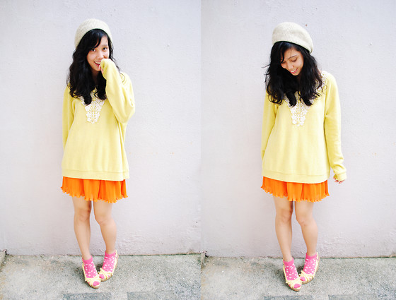 Reese Ungson - Gift Ed Hat, Thrifted Mustard Sweater, Thrited Orange Pleated Skirt, Reebok Socks, American Eagle Yellow Wedges - Pumpkin Soup