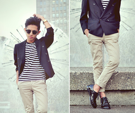 Mc kenneth Licon - Double Breasted Blazer, H&M Stripped T Shirt, Zara Equestrian Pants, Joe Fresh Brogues - Wait! let me fix my hair