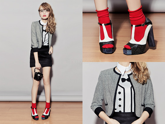 Tricia Gosingtian - Detachable Collar, Korea Camera Bag, Shoes, Korea Socks, Just G Jacket, Just G Skirt, Just G Shirt - 092111