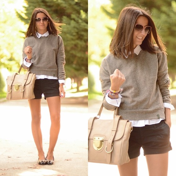 Alexandra Per - A Bicyclette Sweater, Su Shi Bag, Pretty Ballerinas Flats, Pull & Bear Shorts, Marc By Jacobs Sunglasses - A new boy in my school