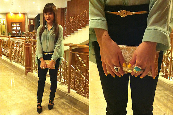 Ashley Liew - Black Pants, Sheer Mint Blouse, Forever 21 Black Platforms, Gold Metal Belt, Bangkok, Thailand Gold Skull Clutch, Yves Saint Laurent Ysl Inspired Arty Oval Ring - My birthday look
