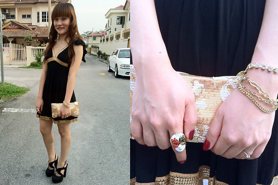 Ashley Liew - Bangkok, Thailand Gold Lined Black Dress, Bangkok, Thailand Gold Skull Clutch, Forever 21 Black Platforms, Taipei, Taiwan Mixed Gold Bracelet, Face Mask Ring - Every cloud has a gold lining