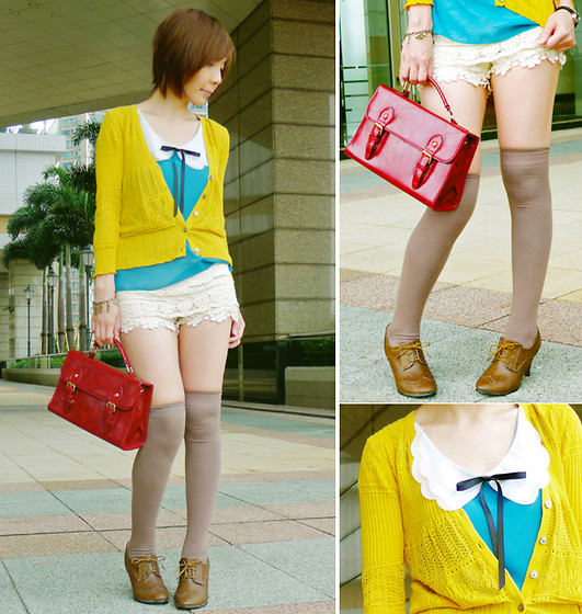 Prisca E. - Knee Length Socks, Hong Kong Oxford Heels, Hong Kong Mustard Yellow Cardigan, Hong Kong Double Scalloped Peter Pan Collar Blouse, Diy Bow Tie, Hong Kong Red Satchel, Diy Charms Bracelet, Crochet Shorts - Colourful Fall