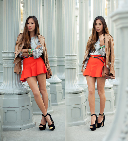 Aimee Song - Theory Top, Zara Skirt - Street Lamps