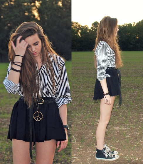 Sophie. C - Charity Shop Striped Shirt, Asos Black Skirt, Converse, Vintage Belt - All the other kids with the pumped up kicks