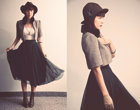 Emilie Martin - Diy Cropped Jacket With Fur Collar, Secondhand Chiffon Skirt - Sweet wonderful you