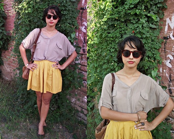 Erika Gerardo - Lob Oversize Shirt, My Design Mustard Skirt, Forever 21 Ring - A Little bit of mustard