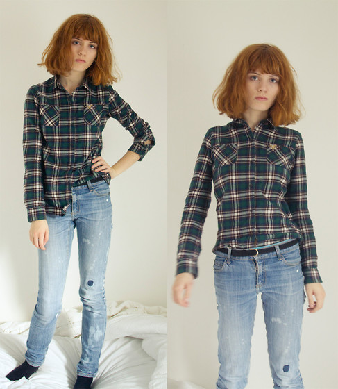 Malin Oberg - American Eagle Plaid Shirt, Cheap Monday Sort Of Torn Jeans, Romwe Black Belt - Lumberjackie