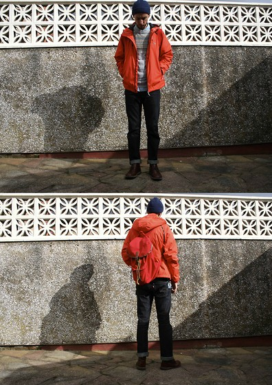 Matthew Pike - Clarks Tan Desert Boots, Home Depot Key Chain, Lacoste Live Orange Waterproof Jacket, Asos Wooly Hat, Topman Fair Isle Jumper, Edwin Denim Shirt, Penfield Red Backpack, Levi's® Levi's 511s - Northern Elements