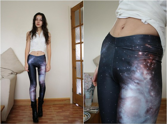 Nica S - Black Milk Clothing Galaxy Leggings, Asos Patent Anita Boots, New Look Cropped Drop Waist Blouse - My daily dose of Calcium.