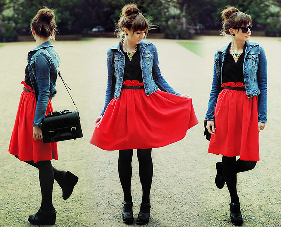 Maddy C - H&M Skirt, Stradvarius Jacket, Bronx Sandals, Necklace - Girly.