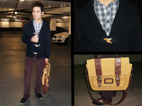 Justin Leigh - Banana Republic Plaid Shirt, All Saints Toggle Sweater, Levi's® 514 Slim Straight Cords, River Island Suede Messenger Bag, Topman Office Espadrilles - All Toggled Up