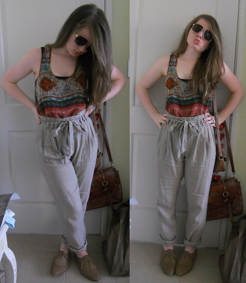 Lucy W - Novo Brown Brogues, Junk Harem Pants, Quay Eyewear Sunglasses, Lushous Clothing Sheer Top - Here comes summer