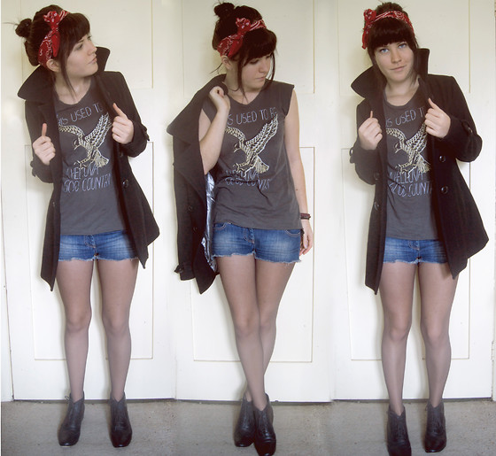 Courtney Lee - Nu + Nan Boots, Huntingbird Denim Cut Offs, Kill City Muscle Tee, Primark Coat, Urban Outfitters Bandana - Cassius it's over
