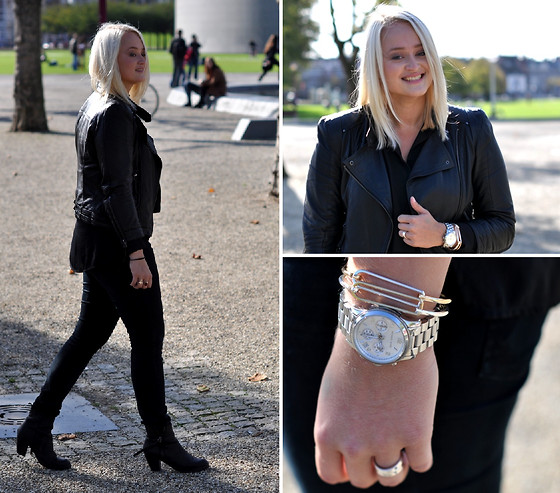 Debbie Nuchelmans - Zara Jacket, Acne Studios Boots, Michael Kors Watch, Cheap Monday Jeans - ALL BLACK