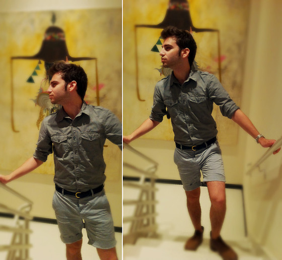 TotesFerosh ! - American Eagle Military Shirt, Urban Renewal Blue Surcingle Belt, H&M Chambray Shorts - Gallery Weekend Chicago
