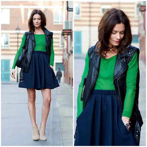 Hedvig ... - Acne Studios Wool Skirt, Cos Top, H&M Leather Vest, Topshop Boots, Céline Bag, Tagheuer Watch - Blue & green