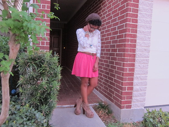Tori Shalea' - Forever 21 Lace Dress, Zara Coral Skirt, Jeffrey Campbell Litas - LACE AND LITAS