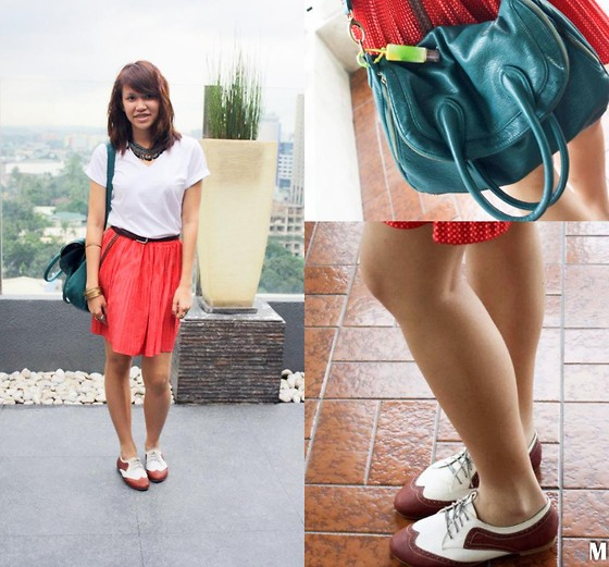 Mia Durano - Tulu Vegan Hobo Bag, Metro Oxfords, Thrifted Polka Dotted Skirt, Bench V Neck, Thrifted Neckpiece - Casual Friday