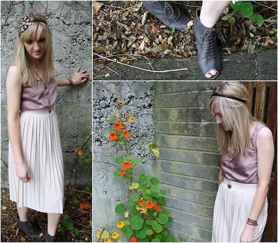 Michelle H - Coast Silk Top, Primark Midi Skirt, Debenhams Boots - What A Difference A Day Makes..