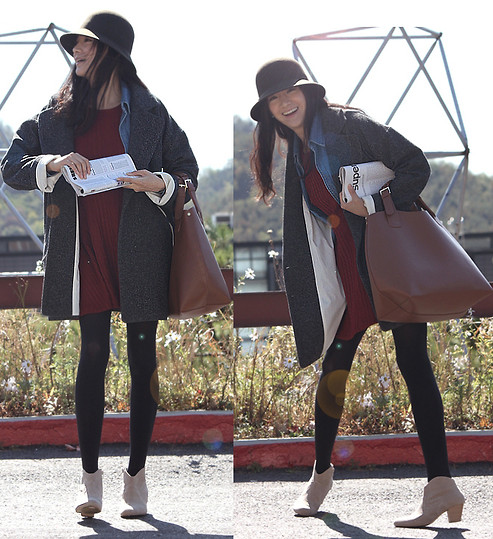 Becky Baek - Brown Fedora Hat, Boyfriedn Jacket, Darkred One Piece, Denim Shirts, Brown Bag, Suede Angle Boots - A warm day