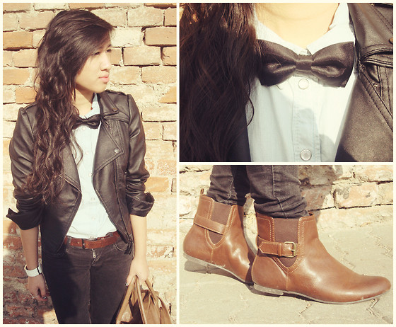 Brumy Thuy Do - Zara Ankle Boot, Leather Jacket, Guess? Watch, Topshop Bag - Autumn's sunshine