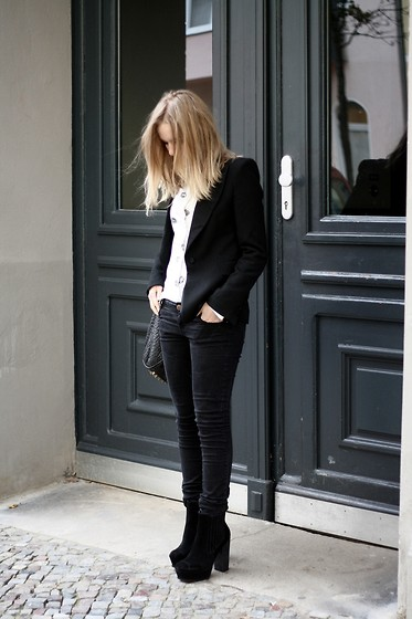 Josephine M. - Zara Blazer, Wood Kiss Blouse, Wang Bag, Zara Jeans, Urban Outfitters Heels - ELECTRIC KISS