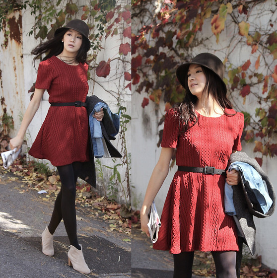 Becky Baek - Brown Fedora, Dark Red One Piece, Suede Angle Boots - FALL