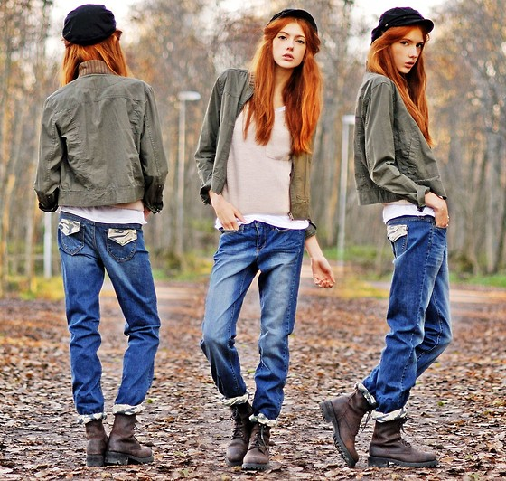 Ebba Zingmark - Denizen Jeans, Top, Second Hand Jacket And Boots - I'm In The Army Now