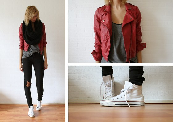 Sietske L - H&M Circle Scarf, Bershka Red Leather Jacket, H&M Tanktop, Topshop Black Jeans, Converse All Stars - Red leather jacket.