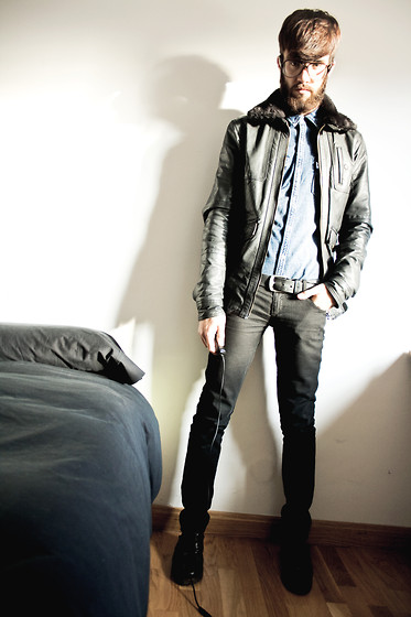Javier Sendin - Pull & Bear Leather Jacket, Zara Denim Shirt - Hard.