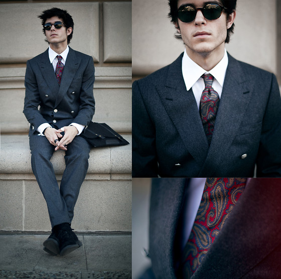 Adam Gallagher - Two Piece Suit, White Shirt, Thrifted Paisley Tie, Satchel - The Gentleman