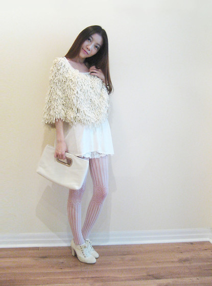 Mollie Wang - Forever 21 Poncho - Ivory and Lilac