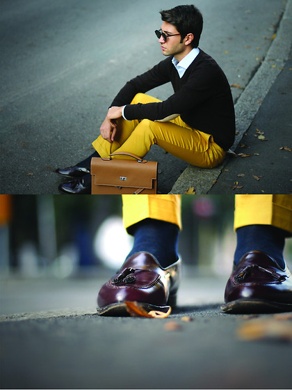 Filippo Fiora - Hermës Briefcase, Church's Shoes, Topman Pants - Yellow and brown