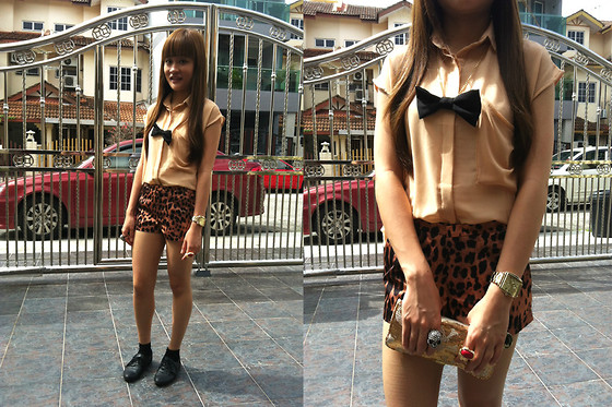 Ashley Liew - Yves Saint Laurent Ysl Inspired Arty Gold Ring, Vincci Black Leather Flats, Black Chiffon Ribbon Necklace, Sheer Chiffon Shirt, Leopard Print Shorts, Asos Gold Square Face Boyfriend Watch, Bangkok, Thailand Gold Skull Clutch, Bling Skull Ring - Animal Instinct