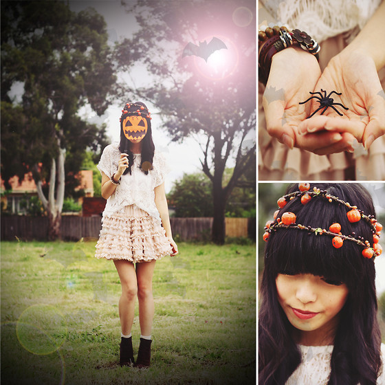 Connie Cao - Overseas Bracelet, Thrifted Bracelets, Diva Bracelet, Some Gag Magic Showbag From The Melbourne Show Fake Spider, Pumpkin Hair Wreath, Kani Handmade Pumpkin Hair Wreath, Diy Pumpkin Mask On A Harry Potter Wand, Chic Wish Lace Top, Chic Wish Petticoat, Yesstyle Boots - ٩(͡๏̯͡๏)۶ hello halloween