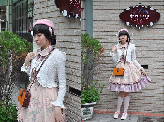 Zairai Chen - Catherine Cottage Plnk Ribbon Shoes, Off Brand Pearl Watch, Brshka Pink Butterfly Necklace, Baby The Stars Shine Bright Pink Beret, Innocent World White Cardigans, Brshka Box Bag, Mary Magdalene Rose Op, Angelic Pretty Pink Ribbon Socks - Morita Café