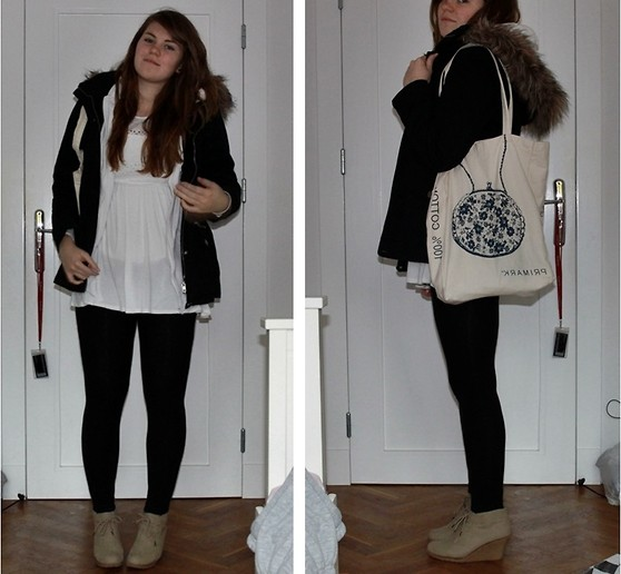 Natascha C - New Yorker Winter Coat, New Look Cut Out Dress, Equipment White Boys Hoodie, Ebay Suede Laced Wedges, Primark Canvas Bag - We found love in a hopeless place