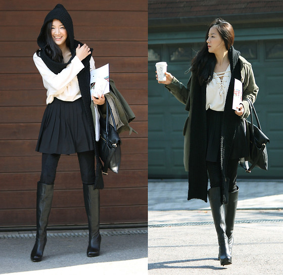 Becky Baek - Black Hood Muffler, Black Pleats Skirt Pants, Black Long Boots, Safari Jumper, String Long T Shirt - Warm