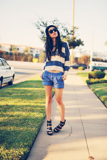 Jenny Ong - Chic Wish Striped Jumper, Kasil Workshop Shorts, Guess? Wedges - The blues
