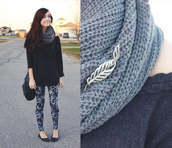 Breanne S. - Girlfriends Material Chunky Knit Scarf, Thrifted Feather Pin, Girlfriends Material Braided Sweater, Forever 21 Floral Leggings - Silver Sparrow