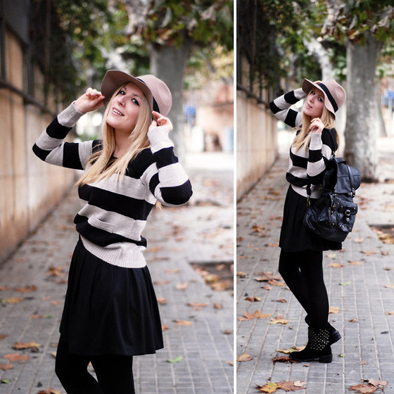 Cris M. - Primark Skirt, Gioseppo Studded Boots, Asos Hat, H&M Sweater, Misako Backpack - Rainy Weekend
