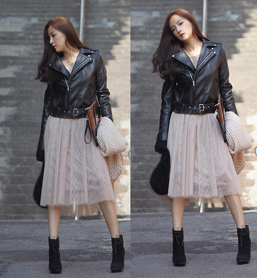 Becky Baek - Blac Rider Jacket, Mesh Dress, Two Tone Color Bag, Black Suede Ankle Heels - Rider jacket