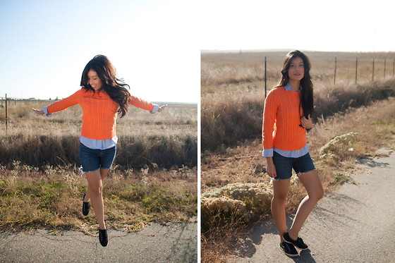 Vanessa R - Ralph Lauren Sweater, Urban Outfitters Shorts, Mango Shirt - Flying high in Orange